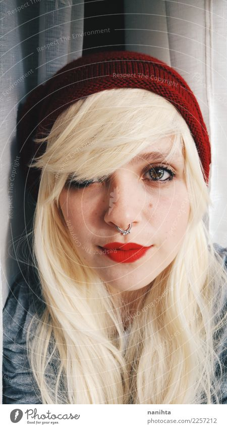 Young and blonde woman Human being Youth (Young adults) Young woman Beautiful White Red 18 - 30 years Face Adults Life Feminine Style Moody Blonde Skin Smiling