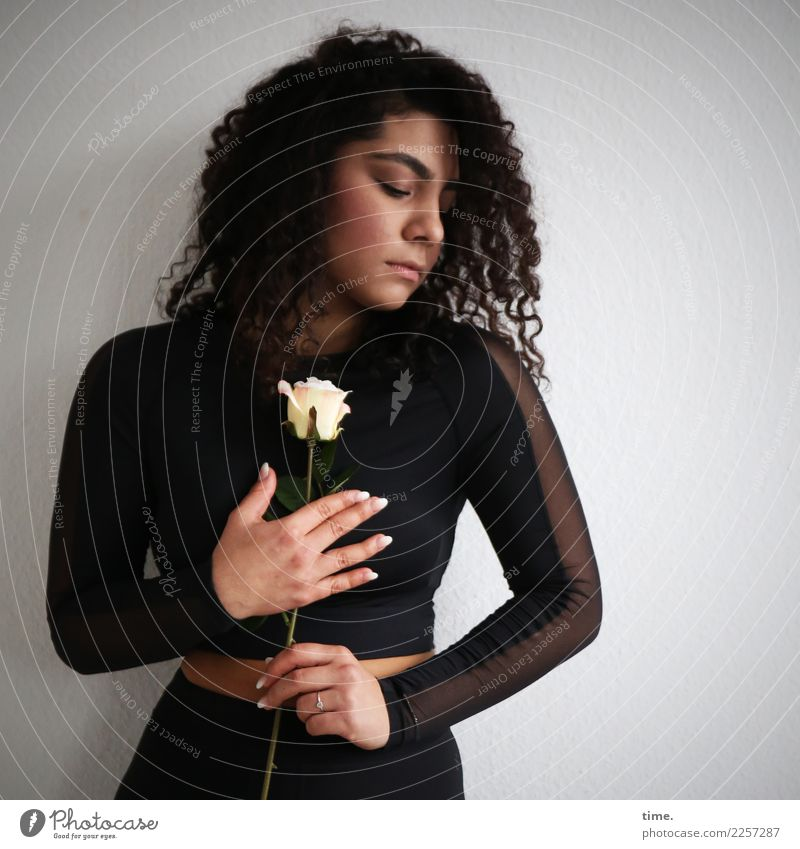 Woman Human being Beautiful Flower Adults Life Sadness Emotions Feminine Dream Stand Transience Romance Grief Longing Rose