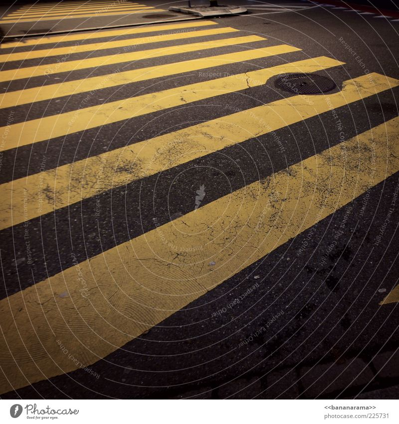 ...black'n'yellow black'n'yellow black'n'yellow black'n'yellow Street Yellow Gray Pavement Street crossing Traffic infrastructure Zebra crossing Gully Concrete