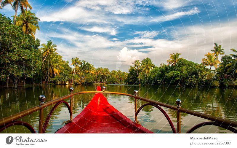Kerala backwaters, India. Vacation & Travel Tourism Adventure Summer Sailing Nature Landscape Water Beautiful weather Warmth Tree Lake River Transport