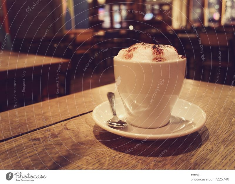 cafe Beverage Hot drink Coffee Cup Brown Cappuccino Caffeine Foam Spoon Colour photo Multicoloured Interior shot Evening Artificial light Gastronomy Delicious