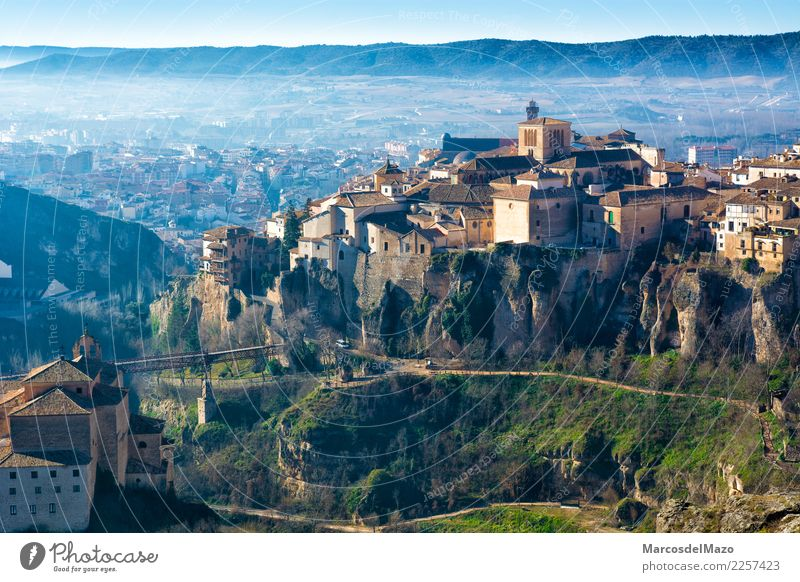 View of old town of Cuenca with hanging houses, Spain Vacation & Travel Tourism House (Residential Structure) Landscape Small Town Downtown Old town Church