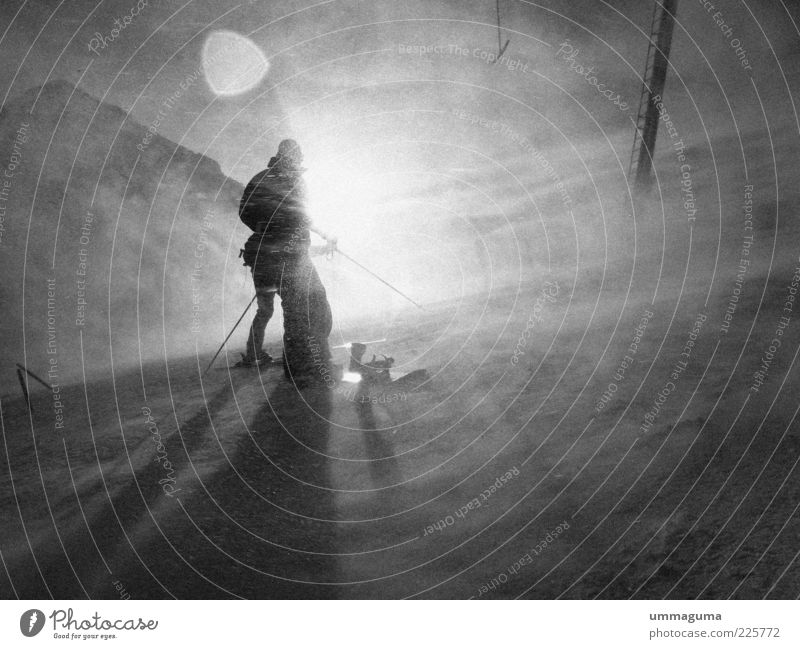 greyscale weather Trip Adventure Winter Mountain Wind Ice Frost Snow Cold Black & white photo Exterior shot Light Silhouette Sunlight Back-light Human being