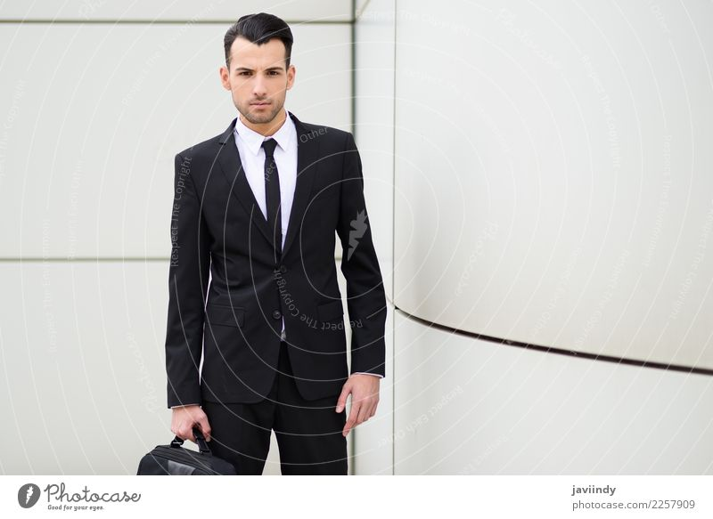Young businessman near a office building Happy Beautiful Hair and hairstyles Profession Office Business Human being Masculine Young man Youth (Young adults) Man
