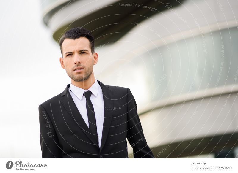young businessman near a office building Happy Beautiful Hair and hairstyles Success Profession Office Business Human being Masculine Young man