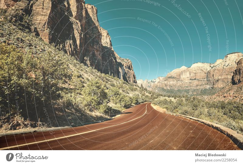 Scenic road in Zion National Park. Nature Vacation & Travel Landscape Red Mountain Street Lanes & trails Freedom Rock Trip Retro Vantage point Adventure USA