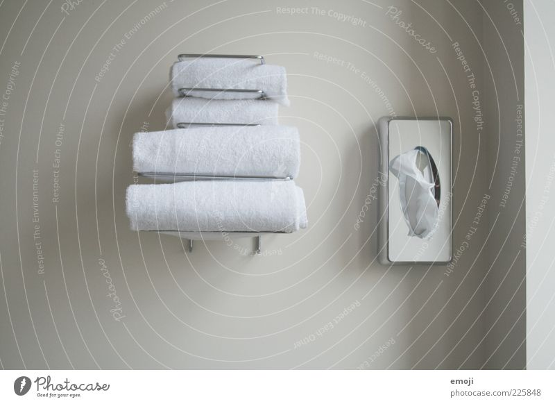 White Wall (building) Gray Arrangement In pairs Bathroom Clean Hotel Box Personal hygiene Towel Monochrome Body care tools Bracket Morning Hotel room