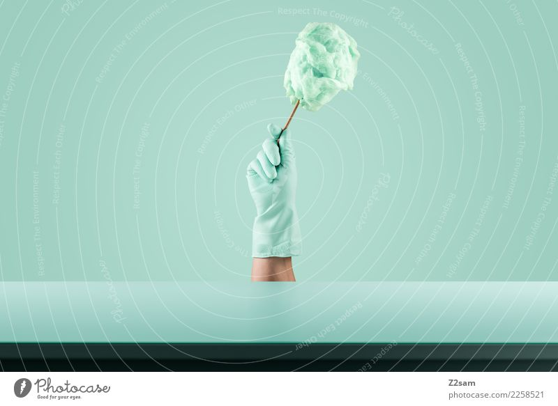 Still Life / Turquoise Food Fruit Nutrition Elegant Style To hold on Esthetic Simple Modern Design Colour Healthy Idea Candy Cotton candy Gloves Hand Unhealthy