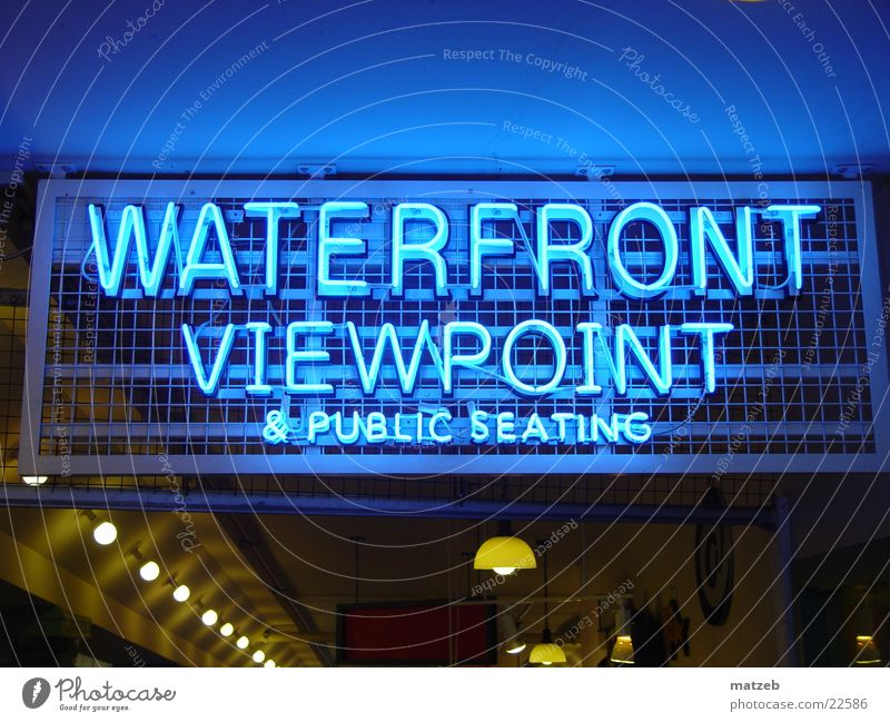 Signs and labeling Vantage point Cape Town South Africa Neon light North America Seattle Victoria & Albert Waterfront