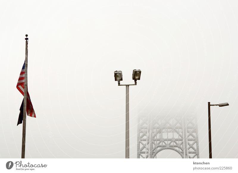 American Flag + Bridge Camera Bad weather Fog New York New Jersey USA North America Manmade structures Landmark George Washington Bridge Traffic infrastructure