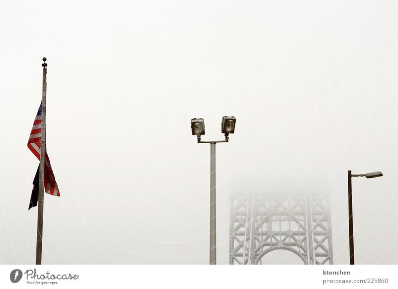 American Flag + Bridge Red Cold Gray Movement Dream Fog Bridge Driving USA Flag Manmade structures Camera Infinity Sign Serene Traffic infrastructure