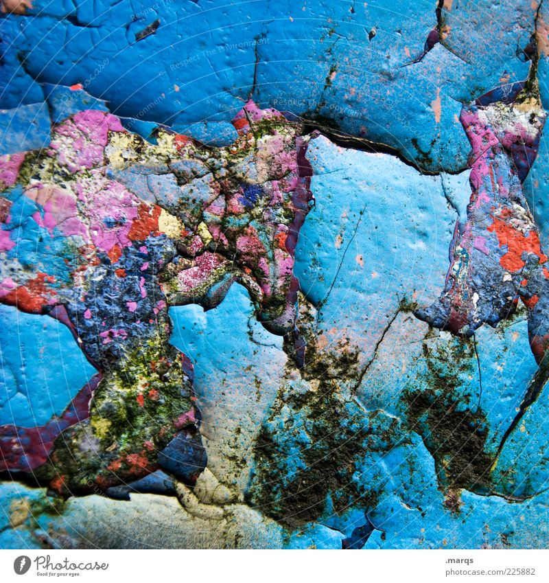 Make blue Style Subculture Wall (barrier) Wall (building) Concrete Exceptional Trashy Multicoloured Chaos Colour Whimsical Colour photo Close-up Abstract