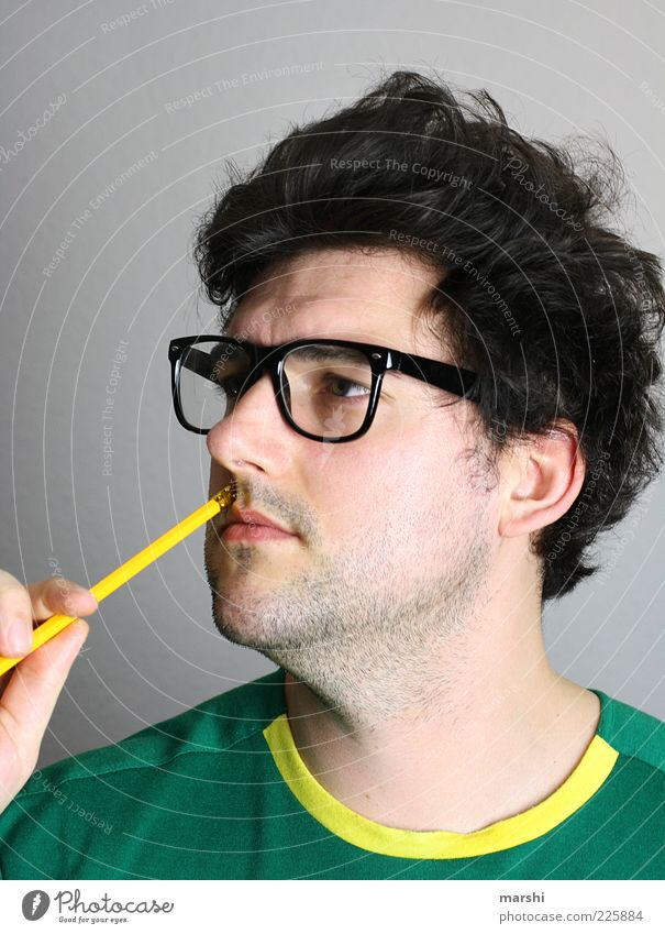 The Thinker Style Human being Masculine Man Adults Head 1 Accessory Eyeglasses Brunette Curl Facial hair University & College student Study Thought Pencil