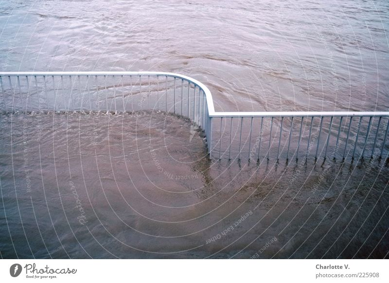 high water Environment Water River bank Elbe Deserted Handrail Boundary Metal Fluid Blue Pink Silver Contentment Movement Symmetry Flood Inundated Flow Fence