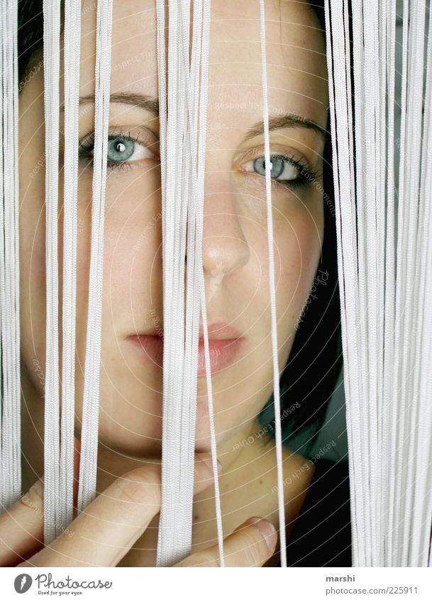 behind bars Human being Feminine Woman Adults Head 1 Looking Grating Drape Concealed Forward Interior shot Portrait photograph Captured Colour photo Face