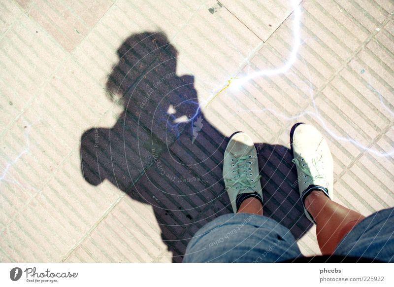 Human being Sun Street Stone Legs Feet Footwear Floor covering Jeans Cobblestones Stockings Paving stone Self portrait Buenos Aires