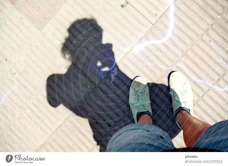 mi sombra Street Shadow Sun Buenos Aires Human being Feet Legs Stockings Paving stone Cobblestones Stone Exterior shot Floor covering Footwear Self portrait