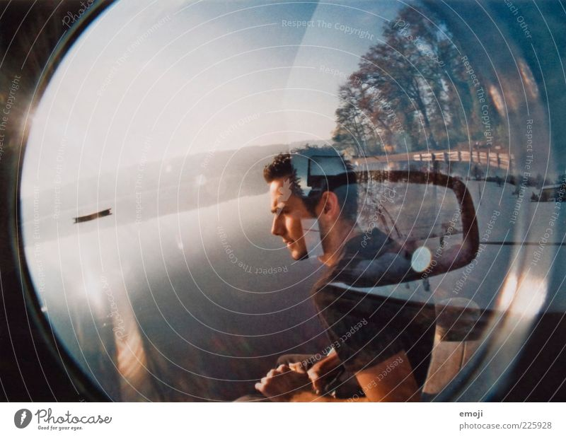 Human being Youth (Young adults) Warmth Car Adults Masculine Mirror Analog Double exposure 18 - 30 years Dazzle Motor vehicle Fisheye Man Lens flare