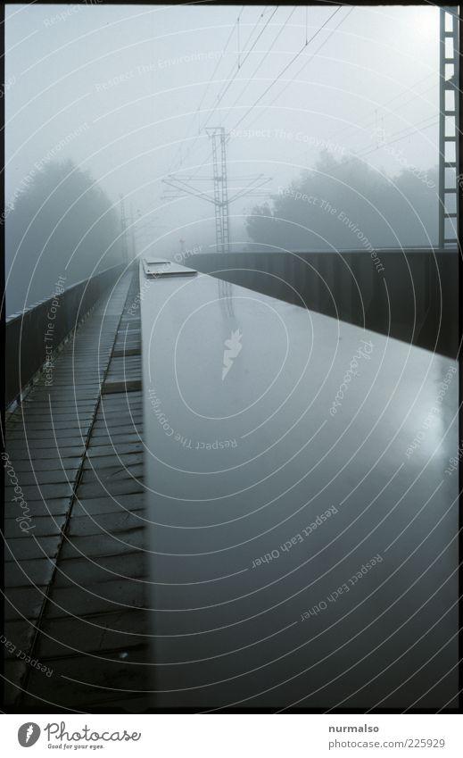trist bridge Environment Nature Elements Autumn Weather Bad weather Fog Rain Transport Traffic infrastructure Rail transport Railroad Railway bridge