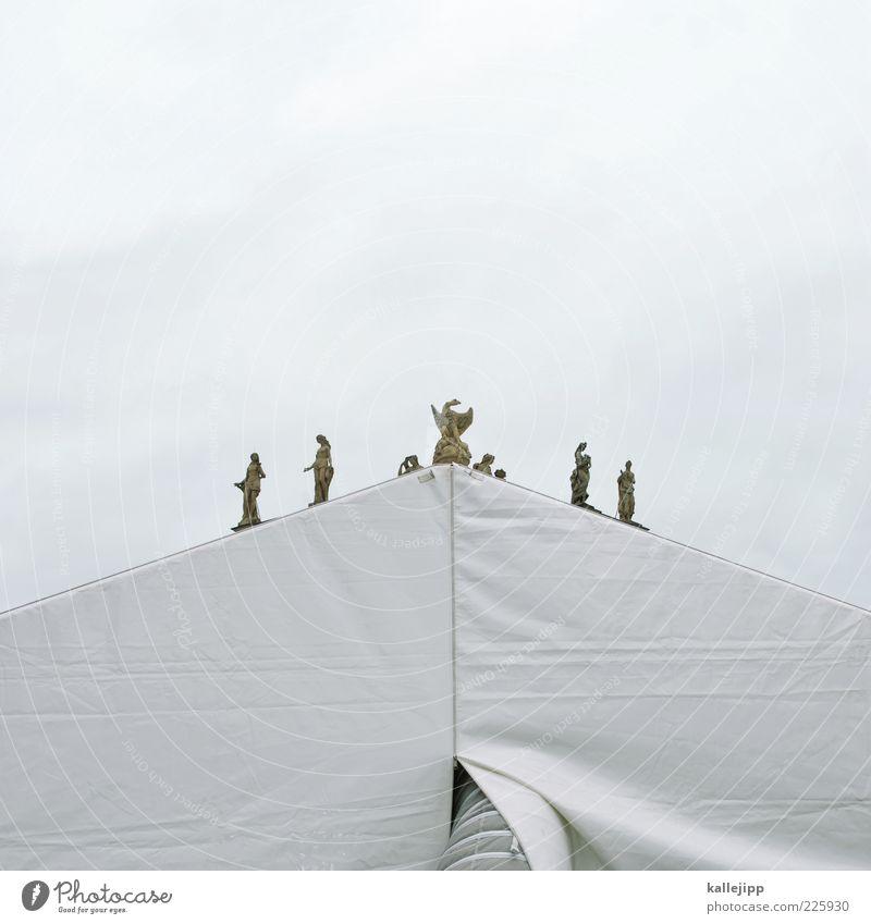 firmament Art Work of art Sculpture Theatre White Tent Stone Deception Eagle Merlon Triangle Pyramid Geometry Colour photo Subdued colour Exterior shot