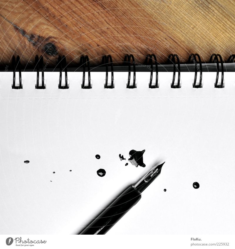 prescribed Stationery Paper Piece of paper Pen Characters Write Fluid Glittering Wild Brown Black White Ink Daub Patch Loose-leaf Wood Texture of wood