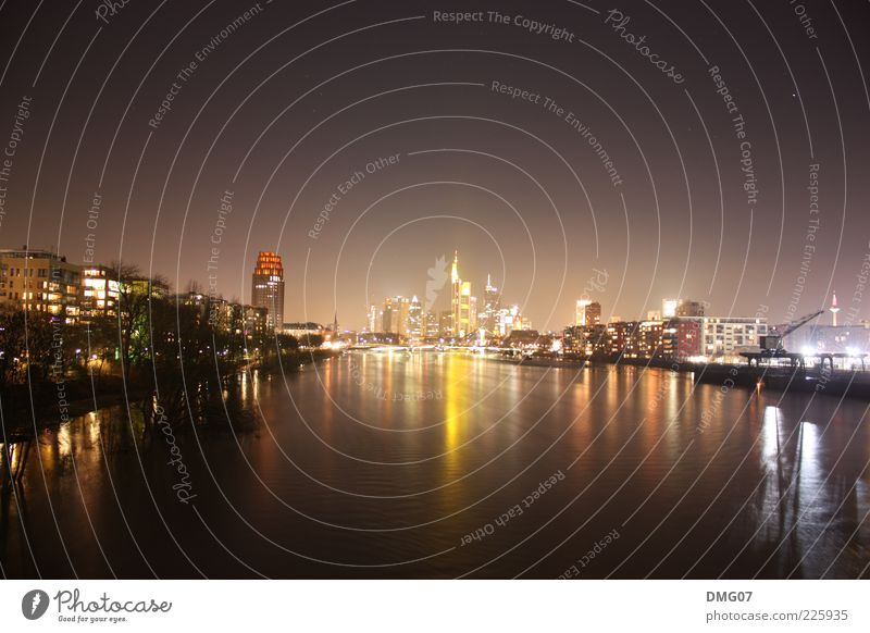 Skyline Frankfurt Lifestyle Luxury Night life Water Cloudless sky Night sky Stars Horizon Summer Winter Waves River Main Town Downtown High-rise Bridge