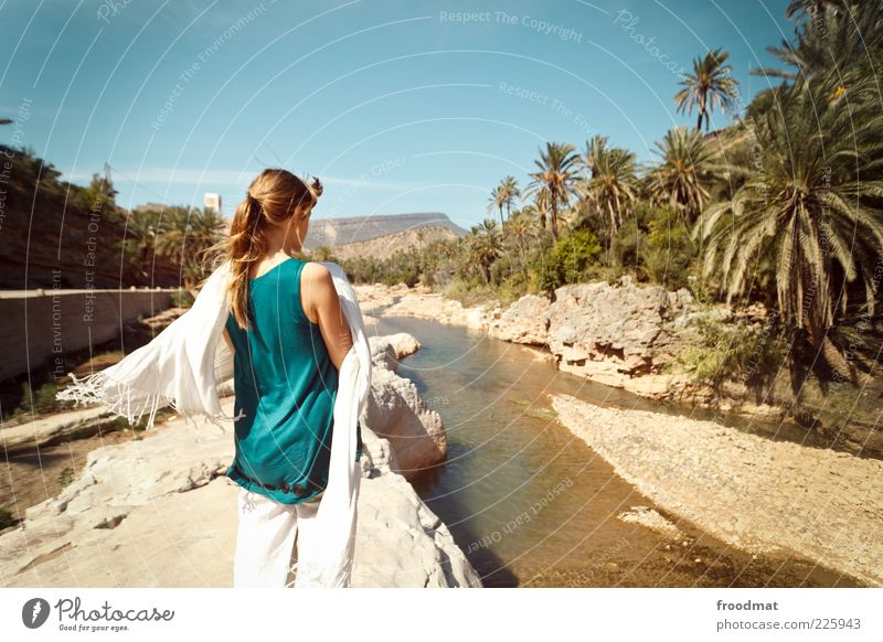 Woman Human being Youth (Young adults) Vacation & Travel Far-off places Relaxation Feminine Freedom Dream Adults Wind Trip Adventure Tourism River