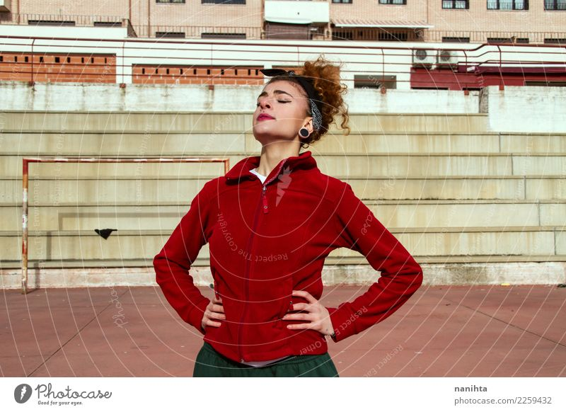 Young woman breathing after exercise Human being Youth (Young adults) Town Red 18 - 30 years Adults Lifestyle Healthy Sports Feminine Style Power Fresh Fitness