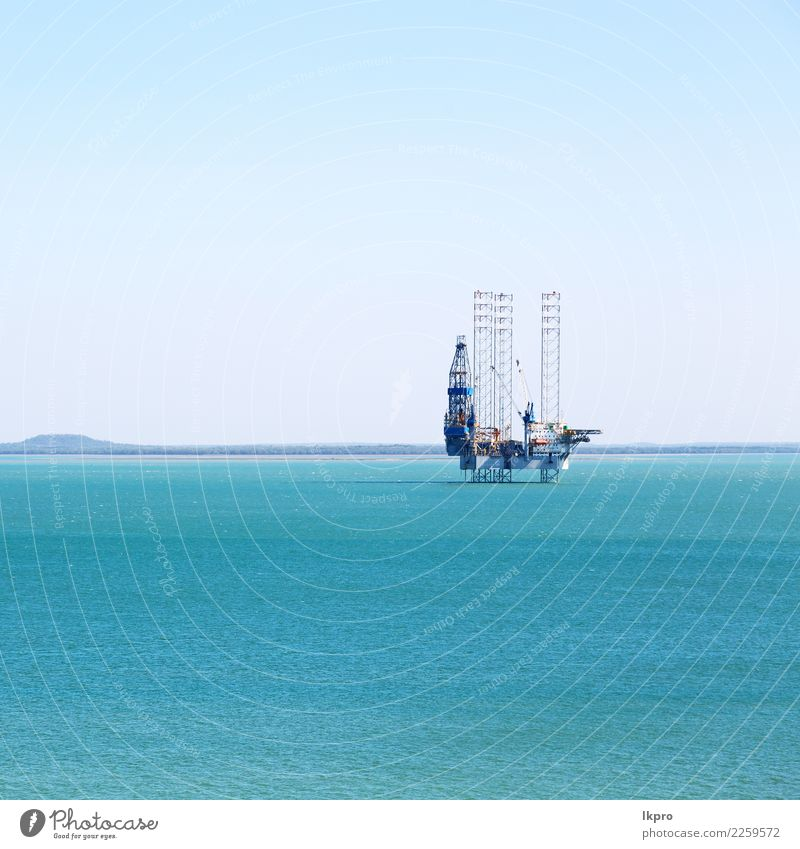 an off shore platform in the clear ocean Ocean Industry Business Machinery Technology Environment Sky Coast Watercraft Helicopter Steel Oil Energy