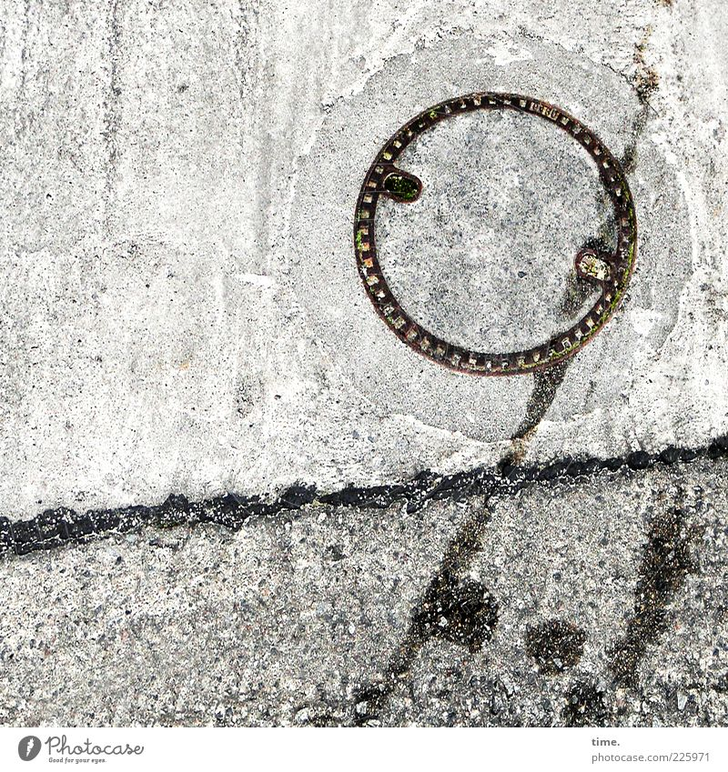 The sun is tired, says Lukas Stone Concrete Line Round Gray Gully Iron Patch Speckled Waste oil Furrow Diagonal Black & white photo Exterior shot Detail