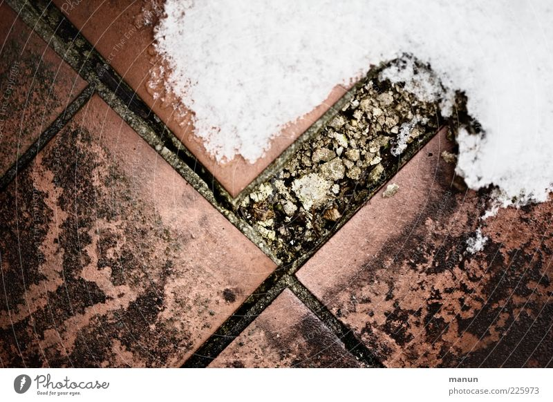 in need of renovation Winter Ice Frost Snow Floor covering Paving tiles Tile Ground Stone Old Dirty Authentic Sharp-edged Cold Broken Retro Decline Transience