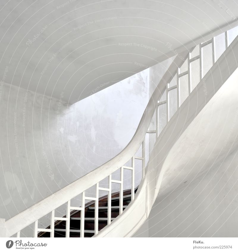white staircase Deserted Building Architecture Stairs Old Esthetic Bright White Past Transience Staircase (Hallway) Banister Interior shot Artificial light