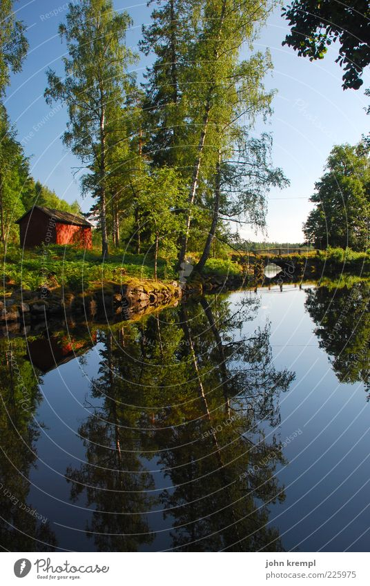 The Swedish Scotsman Landscape Water Sky Tree Meadow Forest Lakeside Hut Bridge Kitsch Natural Blue Green Happy Joie de vivre (Vitality) Safety (feeling of)