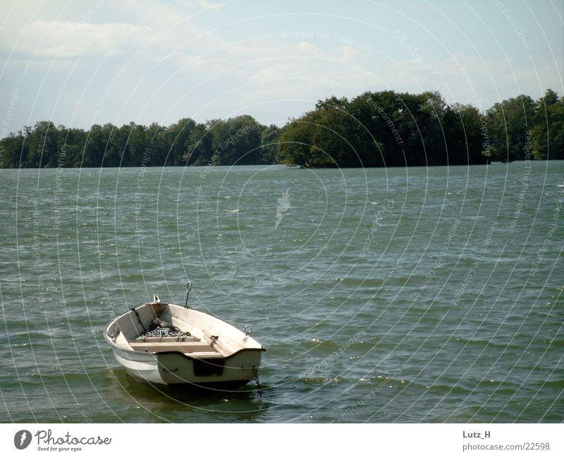 Boat on the lake Lake Watercraft Tree Small waves windless silence