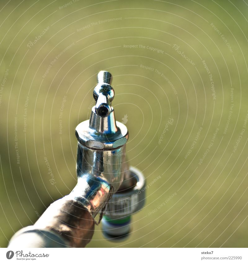 arid Tap Glittering Dry Green Silver Metal High-grade steel Valve Subdued colour Exterior shot Deserted Copy Space top Isolated Image Neutral Background