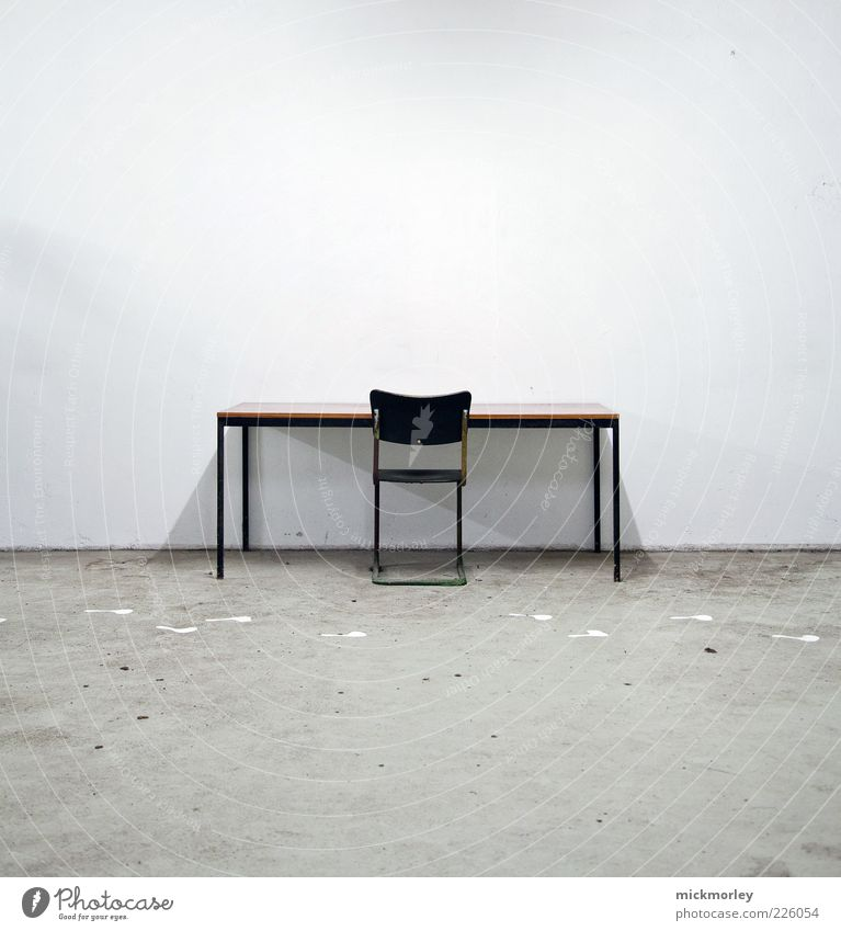 Loneliness Relaxation Cold Wall (building) Work and employment Room Time Dirty Table Chair Exceptional Observe Creepy Desk Whimsical Workplace