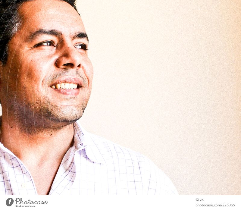 Closeup portrait of a happy young man, looking into distance Human being Man Joy Adults Hope 30 - 45 years Young man