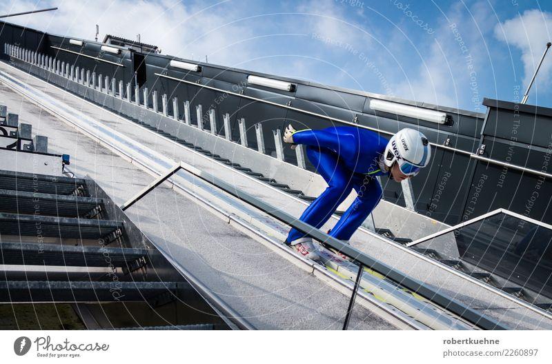 Ski jumper on the ski jump Sports Fitness Sports Training Winter sports Sportsperson Success ski-jump Sporting Complex Human being Man Adults 1 18 - 30 years