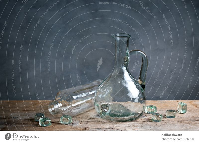 Blue Gray Brown Glittering Glass Esthetic Clean Clarity Bottle Still Life Cube Purity Wooden table Topple over