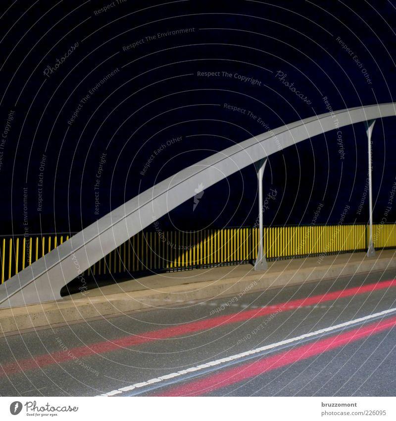 Yellow Gray Lanes & trails Metal Pink Speed Bridge Driving Asphalt Handrail Traffic infrastructure Motoring Night sky Tar Arch Road traffic