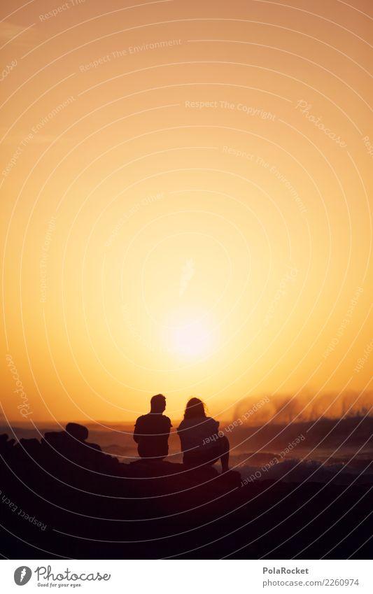 Sky Nature Ocean Far-off places Environment Love Couple Orange Together Horizon Waves Esthetic Future Romance Grief Summer vacation