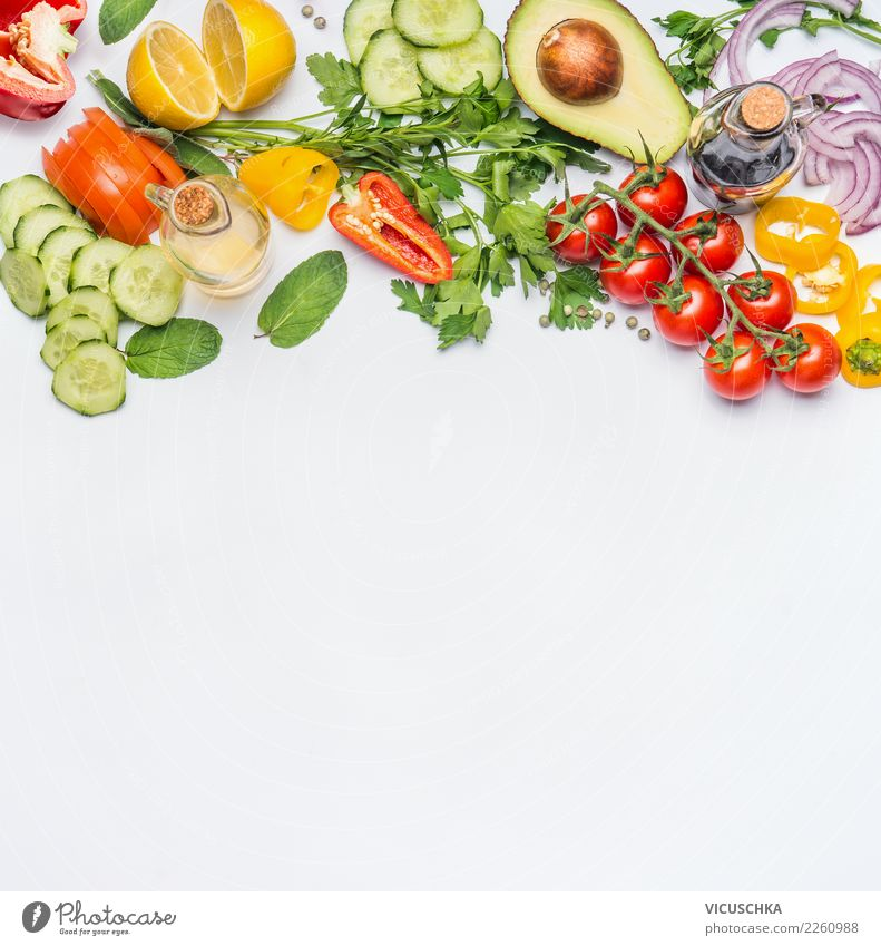 Fresh vegetable ingredients for salad Food Vegetable Lettuce Salad Nutrition Organic produce Vegetarian diet Diet Style Design Healthy Healthy Eating Restaurant
