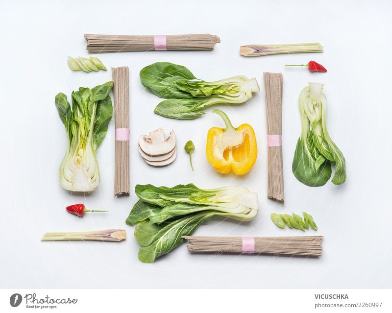 Ingredients for Asian cuisine on white Food Vegetable Nutrition Lunch Organic produce Vegetarian diet Diet Asian Food Style Design Healthy Healthy Eating