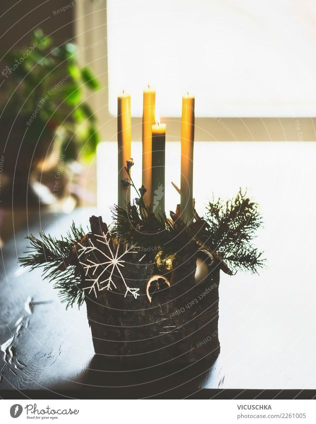 Advent wreath on the table Lifestyle Style Design Winter Living or residing Flat (apartment) House (Residential Structure) Decoration Table Living room