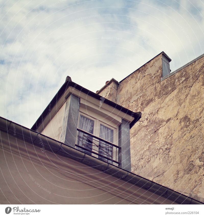 window corner House (Residential Structure) Facade Window Old Sky Colour photo Exterior shot Copy Space top Worm's-eye view Skylight Eaves Neighbor's house