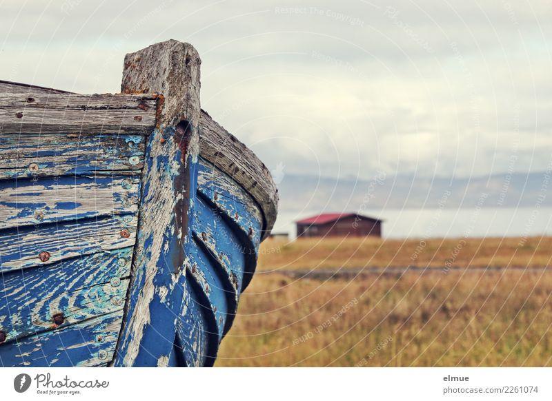 drained Water Lakeside Means of transport Navigation Fishing boat Lie Old Historic Broken Maritime Original Gloomy Romance Serene Hope Longing Wanderlust