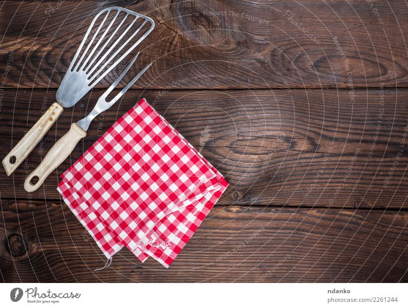 vintage kitchen appliances and a red napkin Cutlery Fork Table Kitchen Cloth Wood Retro Brown Red White cover picnic empty Menu textile Tablecloth Consistency