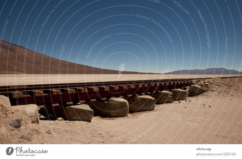 Nature Vacation & Travel Calm Loneliness Mountain Landscape Sand Tourism Gloomy Elements Desert Railroad tracks Transport South America Bolivia High plain