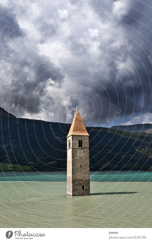 water tower Clouds Storm clouds Weather Lake Deserted Church Tourist Attraction Old Blue Gray Green Belief Puzzle Decline Past Church spire Reservoir