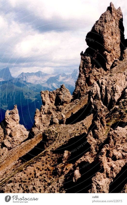Dolomite Mountains Clouds Alps Rock Stone